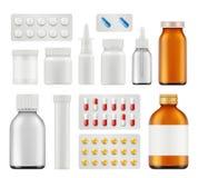Pillole mediche Modello realistico di aspirin della capsula di sanità di vettore antibiotico delle droghe illustrazione vettoriale
