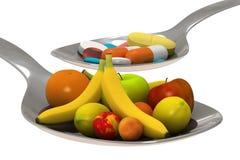 Pillole o frutta - isolata Fotografie Stock Libere da Diritti