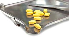 Pillole in pillola che conta cassetto Fotografia Stock