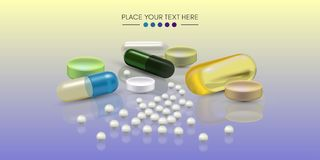 Pillole realistiche 3d Farmacia, antibiotico, vitamine, compressa, capsula medicina Illustrazione di vettore delle compresse e illustrazione di stock