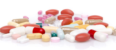 Pillole, ridurre in pani e capsule Immagini Stock Libere da Diritti