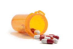 Pillole rosse e bianche Fotografia Stock