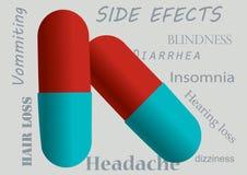 Pillole rosse e blu con gli effetti collaterali come fondo Immagini Stock