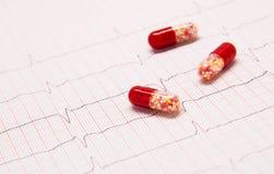 Pillole rosse sull'elettrocardiogramma Immagine Stock