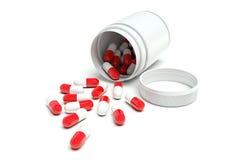 pillole Rosso-bianche da una bottiglia bianca illustrazione di stock