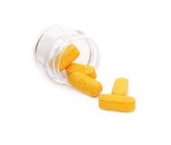 Pillole in una bottiglia Fotografia Stock Libera da Diritti