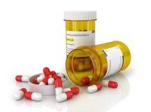 Pillole una bottiglia di pillola Fotografie Stock Libere da Diritti