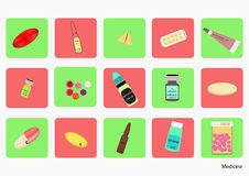 Pillole variopinte dell'icona con differenti forme di dosaggio immagini stock