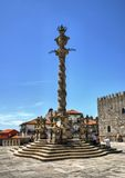 Pillory in front of the main facade of the Cathedral of porto. In Portugal Stock Photo