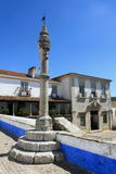 Pillory in Obidos. Pillory and traditional houses in Obidos, Portugal royalty free stock image