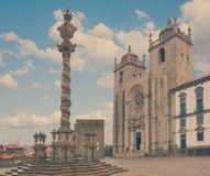 Pillory and  Se Cathedral in Porto. Pillory and Se Cathedral in Porto, Portugal, retro toned Royalty Free Stock Images