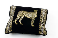 Pillow. Black leopard pillow-close up Royalty Free Stock Image