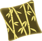Pillow with bamboo design Royalty Free Stock Photo