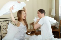 Pillow battle Royalty Free Stock Photos