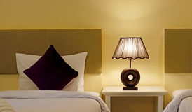 Free Pillow Bed And Table Lamp In Bedroom Stock Photos - 84044723