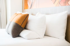 Pillow on bed stock photos