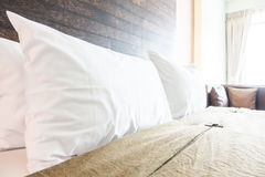 Pillow on bed stock image