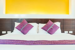 Pillow on bed. Decoration interior of bedroom Royalty Free Stock Image