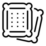Pillow biscuit icon, outline style vector illustration
