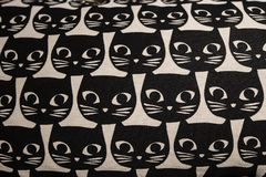 Cat head cartoon pattern. Pillow with black cat head cartoon pattern Royalty Free Stock Image