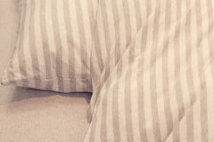 Pillow and blanket on bed Royalty Free Stock Photo