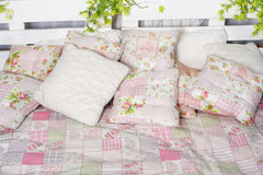 Pillow and blanket on the bed in rustic Stock Photo