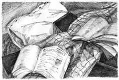 Pillow, blanket and books graphic still life. Graphic still life with a pillow, blanket and books royalty free illustration