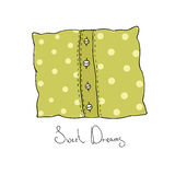 Pillow with buttons. Cushion vector illustration. Stock Photos