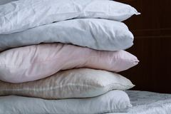 Pillow Column On The Bed Stock Photo