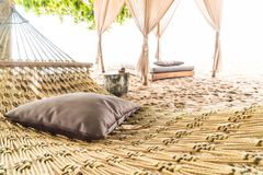 Pillow on cradle. With beach background royalty free stock images