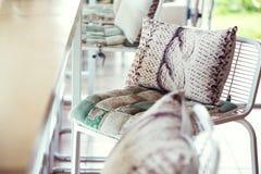 Pillow and cushion fabric decoration Stock Photos