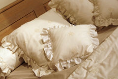 Pillow design in white Stock Images