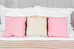 Pillow, dot color  in the bedroom Royalty Free Stock Photo