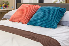 Pillow on double bed. Royalty Free Stock Photography