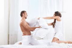 Pillow fight stock image