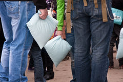 Pillow fight. In Brno (Czech Republic). Funny event. Date: February 3, 2011 Stock Photo