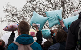 Pillow fight. In Brno (Czech Republic). Funny event. Date: February 3, 2011 Stock Image