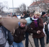 Pillow fight. In Brno (Czech Republic). Funny event. Date: February 3, 2011 Stock Images