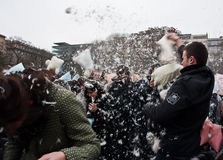 Pillow fight. In Brno (Czech Republic). Funny event. Date: February 3, 2011 Royalty Free Stock Image