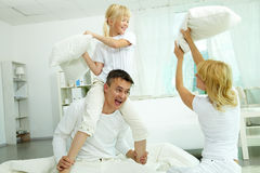 Pillow fight royalty free stock photo