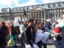 Pillow Fight Day, Bucharest Stock Image