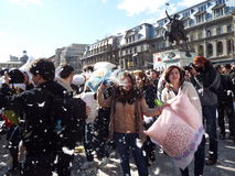 Pillow Fight Day, Bucharest Royalty Free Stock Images