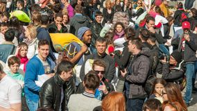 Pillow Fight Day 2015. In Bucharest, Romania stock images
