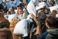 Pillow Fight Day 2015. In Bucharest, Romania stock photography
