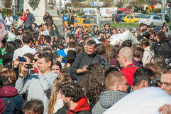 Pillow Fight Day 2015. In Bucharest, Romania royalty free stock image