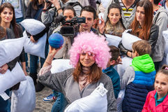 Pillow Fight Day 2015 Stock Photo