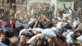 Pillow Fight Day 2015 Stock Images