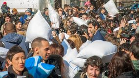 Pillow Fight Day 2015. In Bucharest, Romania royalty free stock photos