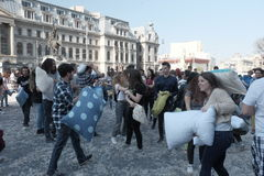 Pillow fight day. International Pillow Fight Day 2017 in Bucharest, Romania. April 1st in cities around the World Stock Image