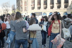 Pillow fight day. International Pillow Fight Day 2017 in Bucharest, Romania. April 1st in cities around the World Stock Photography